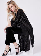 Cardigan kimono avec motif en velours brillant, Noir, hi-res