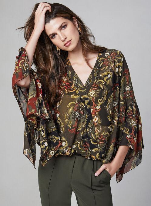 Blouse en mousseline à motif baroque, Noir, hi-res