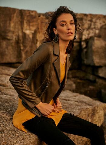 Joseph Ribkoff - Crepe Tunic, Yellow,  online exclusive, top, blouse, tunic, Joseph Ribkoff, Frank Lyman, 3/4 sleeves, button tabs, side slit, crepe, fall winter 2021