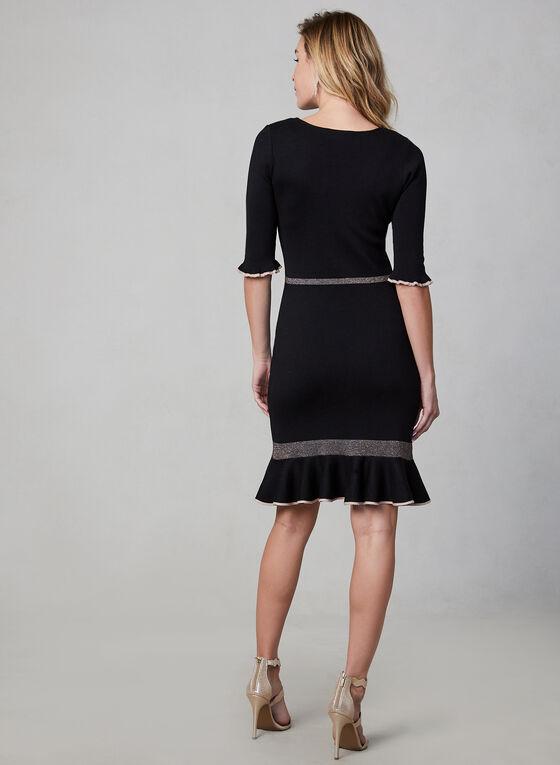 Ruffled Hem Knit Dress, Black