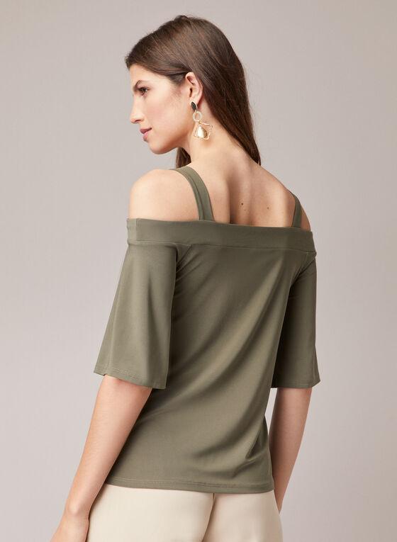 Angel Sleeve Cold Shoulder Top, Green