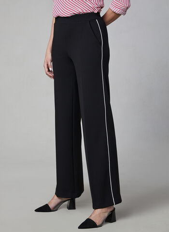 Contrast Trim Wide Leg Pants, Black, hi-res