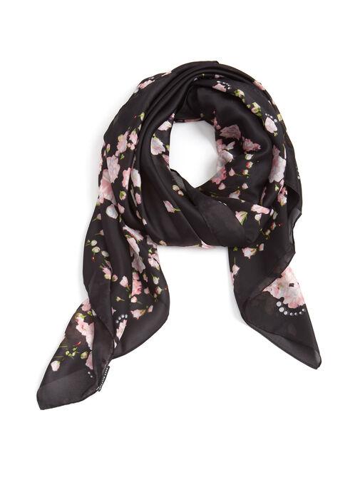 Floral Print Lightweight Scarf, Black, hi-res