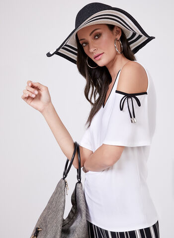 Cold Shoulder Short Sleeve Blouse, Off White, hi-res