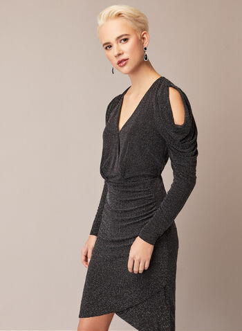 Shimmering Open Shoulder Dress, Black,  fall winter 2020, parties, lurex, metallic, fitted, wrap, long sleeves, open shoulders, holiday