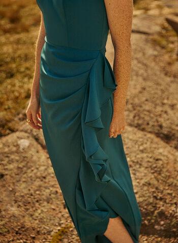 Bustier Cascade Gown, Blue,  evening dress, ruffled, cascade, bustier, strapless, crepe, fall winter 2020