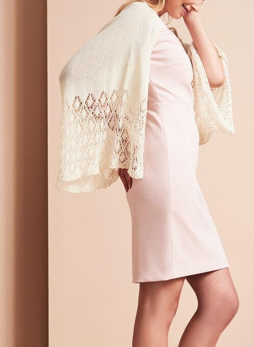 Boléro tricot avec maille argentée et ajourée, Blanc cassé, hi-res