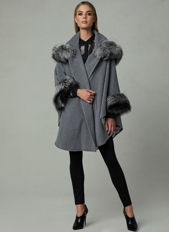 Mallia – Fur Trim Hooded Wool Cape, Grey, hi-res