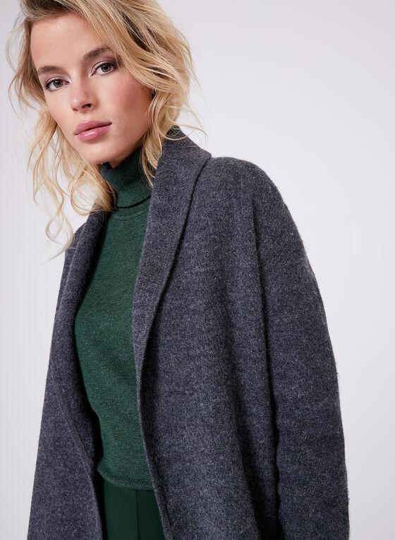 Long Wool Jacket, Grey, hi-res