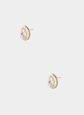 Teardrop Stud Earrings, Gold,  earrings, teardrop stone, studs, baguette border, fall 2019