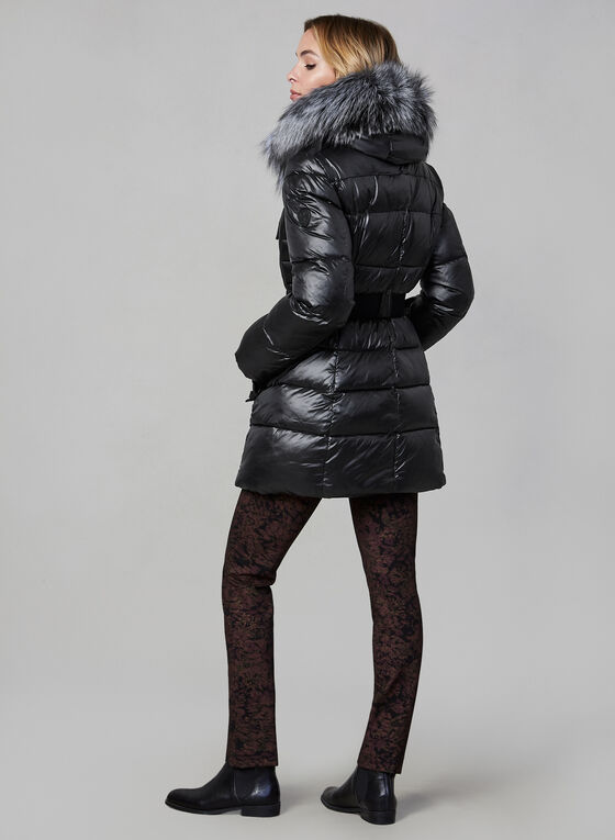 Sicily - Fur Trim Quilted Coat, Black
