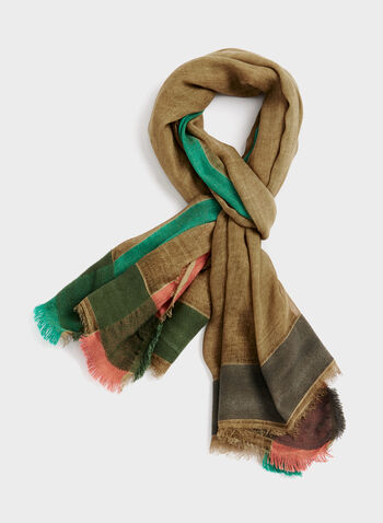 Colourblock Pashmina Wrap, Green, hi-res