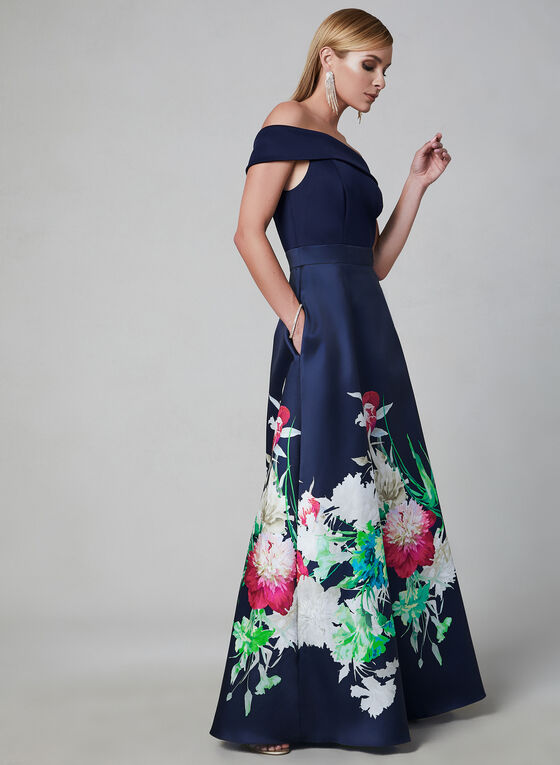 Robe à épaules dénudées et jupe fleurie, Bleu