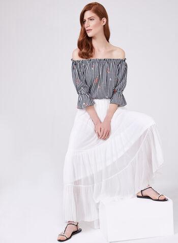 Alison Sheri - Jupe maxi en mousseline à effet plissé, Blanc, hi-res