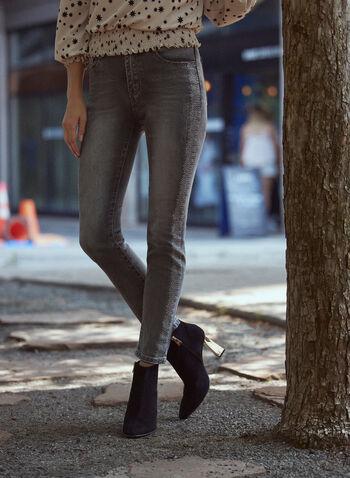 Slim Leg Jeans, Grey,  fall winter 2021, denim, jeans, slim fit, faded, distressed, studs,