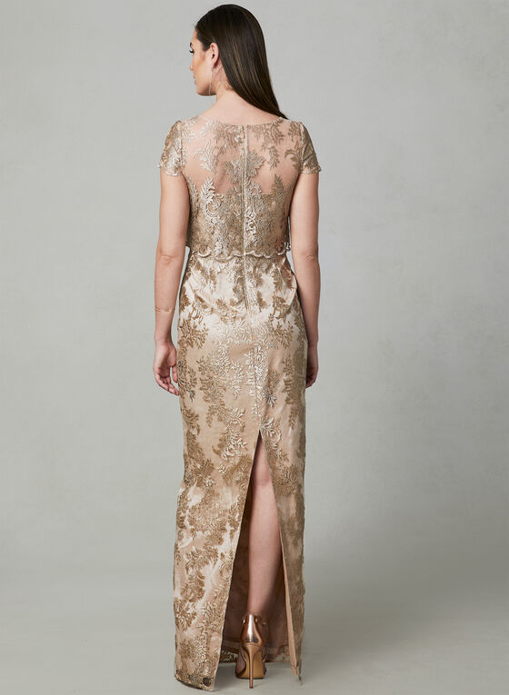 Adrianna Papell - Embroidered Illusion Dress, Gold, hi-res