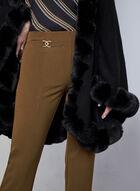 Pantalon à jambe étroite et détails métalliques, Brun
