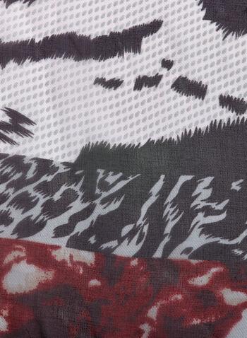 Mixed Animal Print Scarf, Red, hi-res