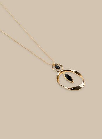 Collier long à anneaux et pierres, Noir,  collier, long, anneau, goutte, printemps été 2020