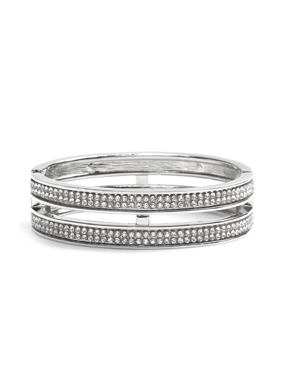 Crystal Embellished Bangle , Silver, hi-res