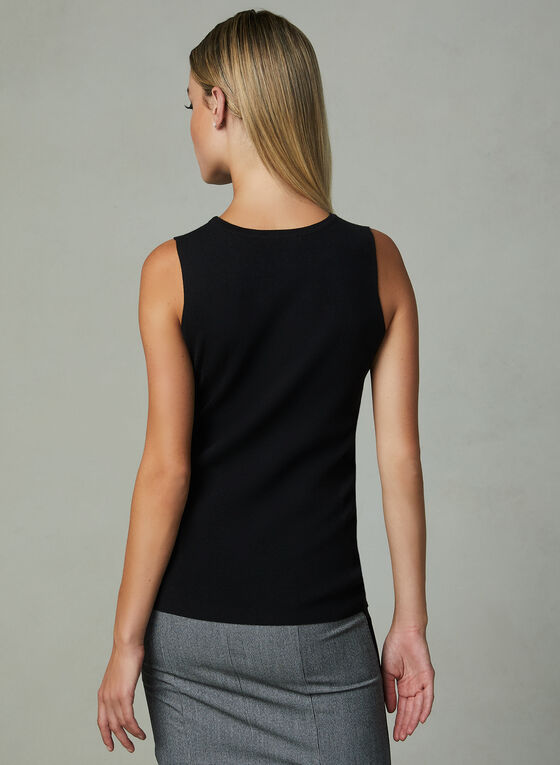 Beaded Sleeveless Sweater, Black, hi-res