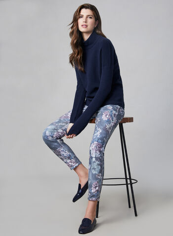 Reversible Slim Leg Jeans, Blue,  floral print, 5 pockets, reversible, stretchy, fall 2019, winter 2019