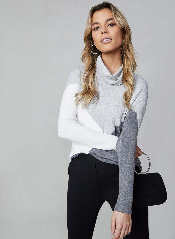 Alison Sheri - Colour Block Sweater, Grey