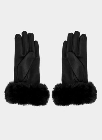 Faux Suede Gloves , Black, hi-res,  gloves, faux suede gloves, faux suede, faux fur, faux fur gloves, winter 2019, fall 2019