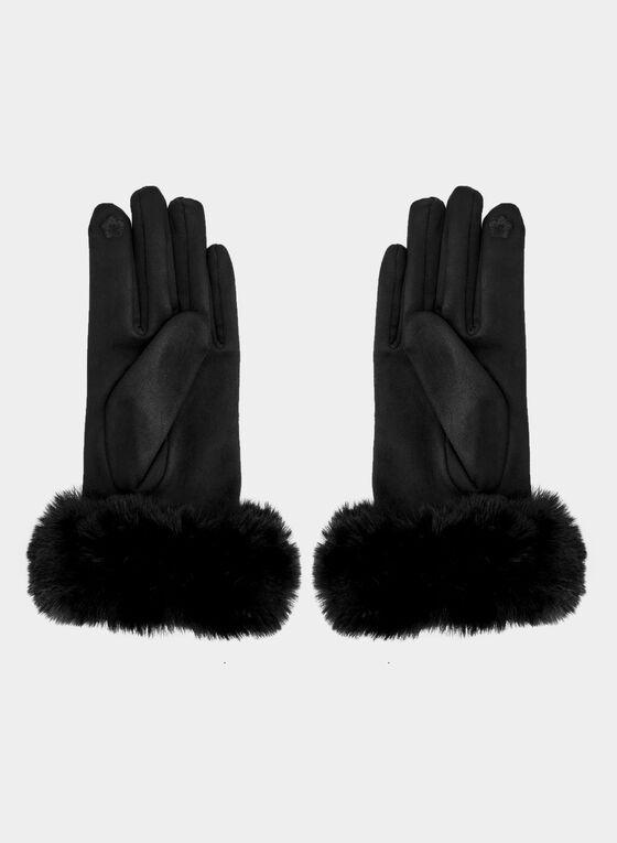 Faux Suede Gloves , Black