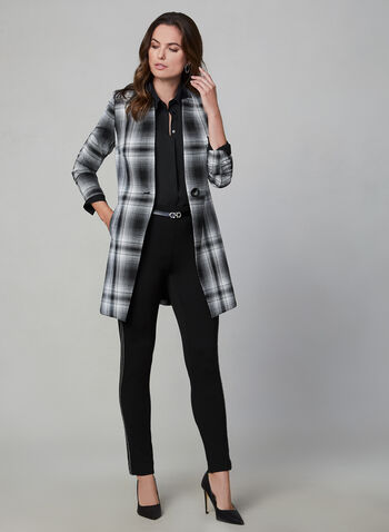 Plaid Print Redingote Jacket, Black,  long sleeves, notch collar, fall 2019, winter 2019