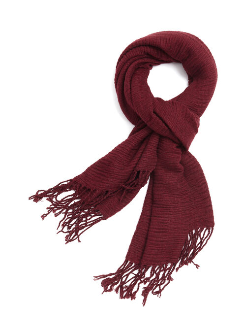 Fringe Knit Scarf , Red, hi-res