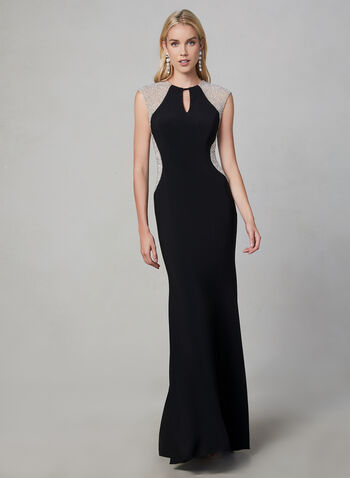 BA Nites - Beaded Dress, Black,  fall winter 2019, jersey, evening gown