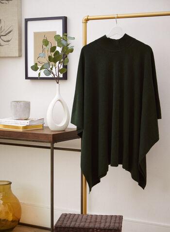 Mock Neck Poncho, Green,  accessories, poncho, mock neck, layer, asymmetrical hemline, fall winter 2021