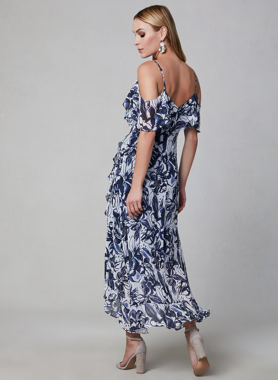 Floral Print Chiffon Dress, Blue, hi-res