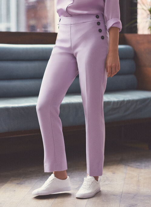 Pantalon coupe Amber à boutons, Violet