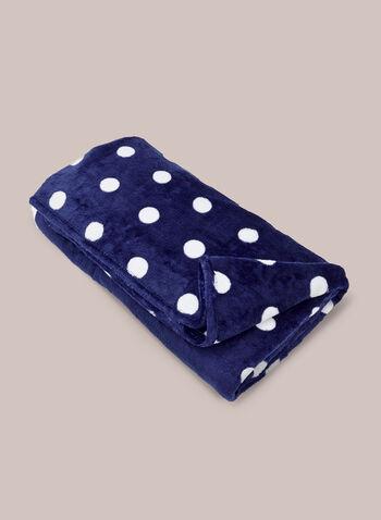 Couverture à motif pois , Bleu,  vêtements de nuit, couverture, accessoire, motif, pois, peluche, doux, automne hiver 2020