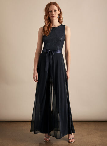 Frank Lyman - Mesh & Sequin Jumpsuit, Blue,  jumpsuit, sleeveless, sequins, mesh, stretchy, jersey, scoop neck, belt, spring summer 2020