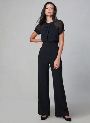Vince Camuto - Chiffon & Crepe Jumpsuit, Black, hi-res,  fall winter 2019, jumpsuit, wide leg, short sleeves, crepe, Vince camuto