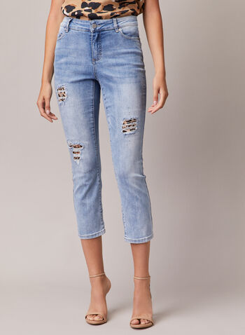 Distressed Denim Capris, Blue,  capris, denim, distressed, rhinestones, leopard print, spring summer 2020
