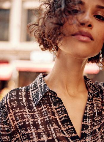 Long Plaid Print Tunic, Black,  fall winter 2021, tops, plaid, shirt collar, buttons, button up, button down, checkered print,