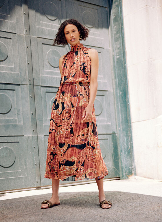 Paisley Print Midi Dress, Orange
