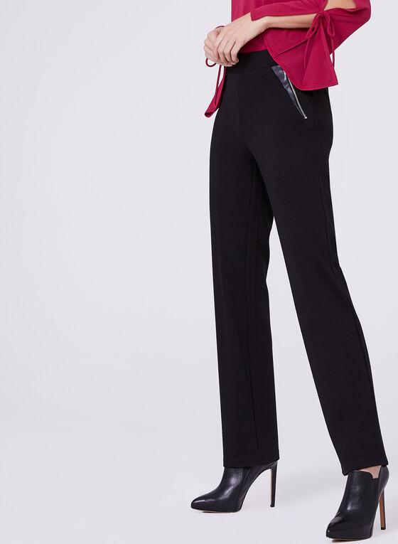 Ponte & Faux Leather ⅞ Pants , Black, hi-res