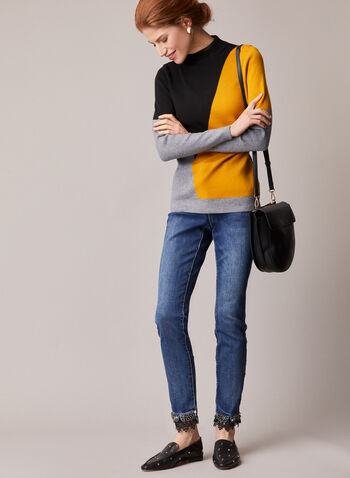 Alison Sheri - Colour Block Sweater, Black,  fall winter 2020, sweater, color block, colour blocked, color blocked, long sleeves, knitwear, knitted, holiday, holidays 2020, gift