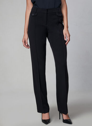 Lauren Trouser Leg Pants, Black,  tailored fit, mid rise, fall 2019, bi-stretch, winter 2019