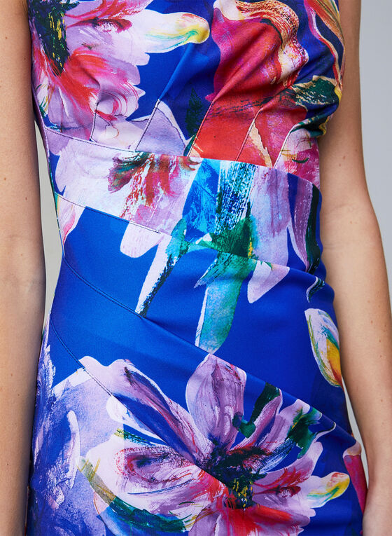 Joseph Ribkoff - Floral Print Sheath Dress, Blue, hi-res