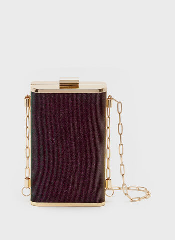 Metallic Box Clutch, Purple, hi-res