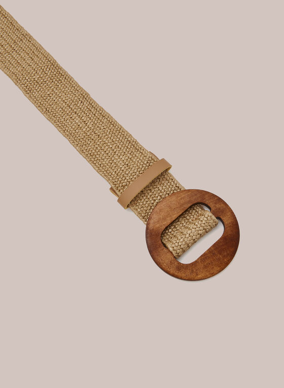 Braided Belt With Wood Buckle, Brown