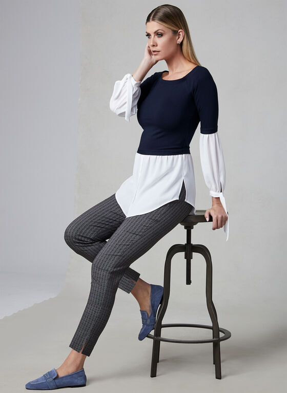Off-the-Shoulder Fooler Blouse, Blue, hi-res