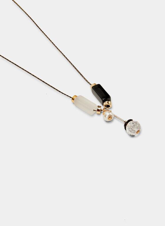 Pendant Necklace, Black, hi-res
