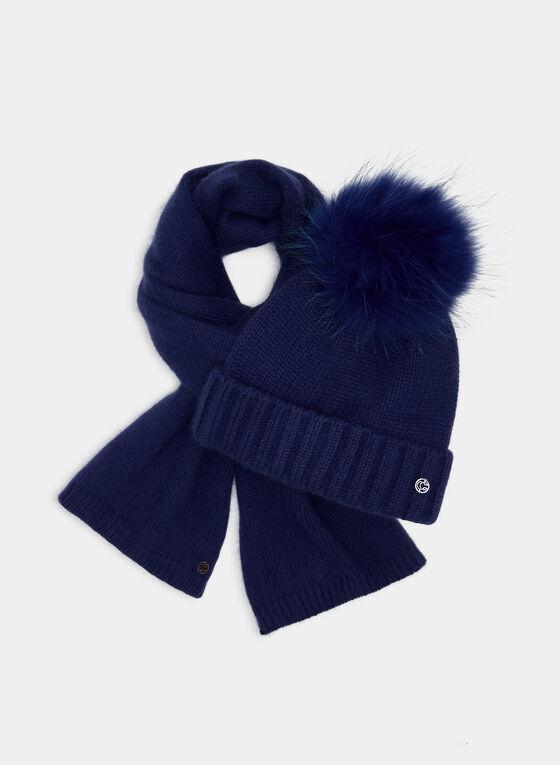 Fur Pompom Toque, Blue, hi-res